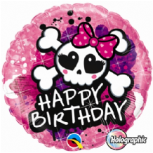 "Birthday Skull Bow Foil Balloon (18"") 1pc"